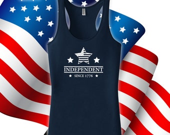 Independent tank top - independence day, happy 4th of july, tanks for women, men, fourth of july, USA, patriotism, fitness tank top -CT-493