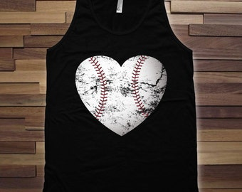 Baseball heart t-shirt - Summer Tank top, Workout shirt, birthday Gift, Womens Tank Top, baseball fan, summer baseball tank top - CT-743