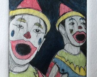 Original Drypoint Hand-pulled Print. 'Carnival Clown' inspired by days at the fairground