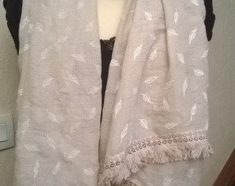 Beige cotton printed scarf