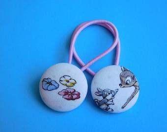 Bambi - Deer - Fabric Button Hair Ties - Christmas Stocking Filler