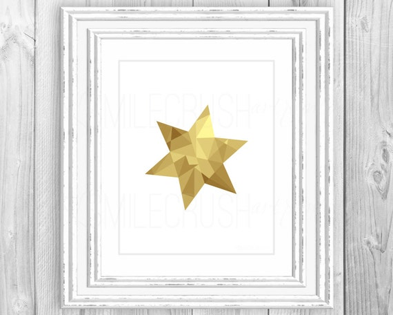 Star Print Geometric Art Gold Geometric Shape Print Gold Star