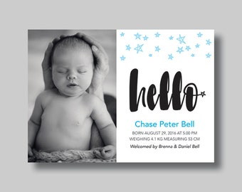 Baby Announcement Boy/Girl/Neutral (Hello) - Digital Design
