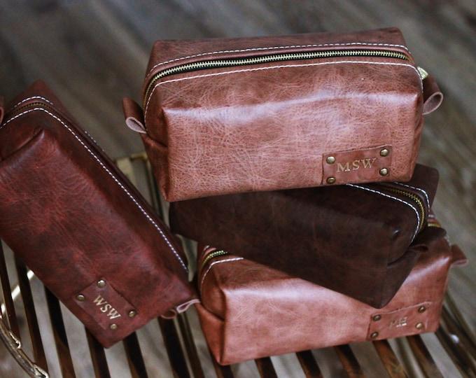 Handmade Personalized Men's Real Leather Toiletry Case Dopp Kit Shaving Bag OOAK Groomsmen Large Gift for him