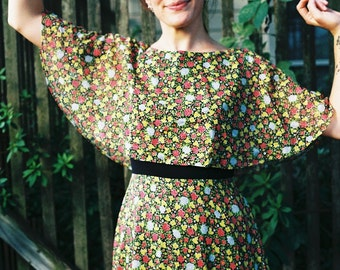 Vintage Floral 70s Full Length Dress