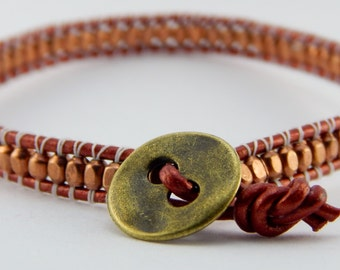 Leather Beaded Wrap Bracelet - Beaded Bracelet - Copper Beads