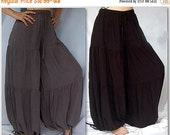 17% OFF SUMMER SALE S658 Tiered Harem Pant Hippie Boho Made To Order s m l xl 1x 2x 3x 4x 5x 6x Drawstring Ankle Comfortable Womens Fashion