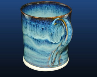 Coffee mug, unique coffee mug, pottery mug, unique coffee cup, 12 oz, hand thrown mug, pottery mugs with blue glaze. Price is for one cup