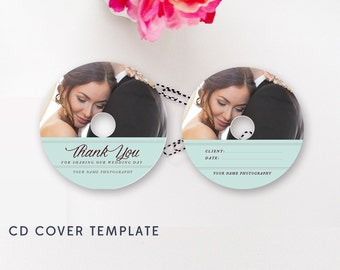 Modern Wedding CD Cover Template - CD Label Template - Photoshop PSD Template - Instant Download