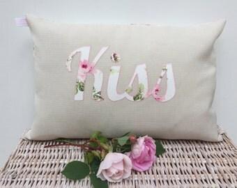 Handmade Shabby Chic Vintage Pretty Pink Roses Romantic KISS Cushion