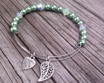 Leaf Bracelet, Silver Bangle with Leaf Charm, Pearl Bracelet, Swarovski Bracelet, Swarovski Bangle, Green Leaf Bracelet, Swarovski Jewelry
