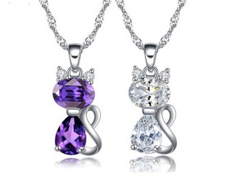 Cool For Cats - Kitten Pendant in Austrian Crystal