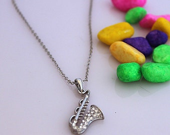 Saxophone Necklace with Crystal Stones