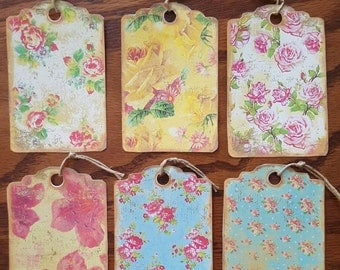 Set of 6 Floral Shabby Gift Tags