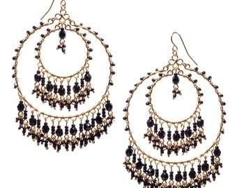 Big Statement Earrings //Black Chandelier Earrings //Extravagant Hoops //Bohemian