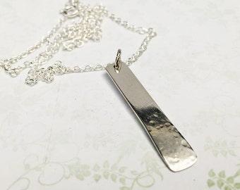 Silver Rectangle Pendant - Geometric Pendant - Sterling Silver Pendant - Textured Silver Pendant - Italian Silver Pendant - Silver Necklace