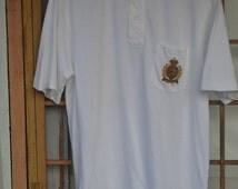 BIG SALE Vintage 90s Polo Ralph Lauren Crown Crest Pocket Collar Shirt L Large Hip hop rap P Wing 92 Polo Stadium Snow Beach Benetton Golf