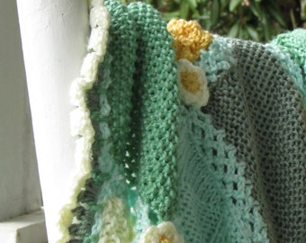 Sale! Hand-Knit and Crocheted Baby or Toddler Blanket