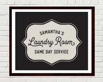 Vintage Laundry Room Art, Personalized Laundry Print, Laundry Room Decor, Laundry Sign