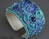 """Bracelet """"Magic"""", bracelet with shibori ribbon, bead embroidered bracelet, bead embroidery, beaded bracelet, shibori jewelry, shibori"""