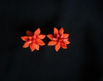 Vintage Celluloid Earrings Antique Celluloid Earrings Flower clip Earrings