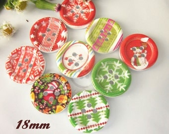 """10 Christmas Buttons  5/8"""" Wood for Sweaters, Knitting, Sewing, Button Crafts, Scrapbooking B12715F"""