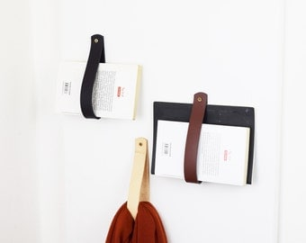 Leather magazine holder, leather strap hanger, custom hanger, towel rack, leather strap, hanging storage, home decor, wall mail organizer