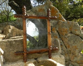 Miroir en bois façon bambou style Art déco Années 30