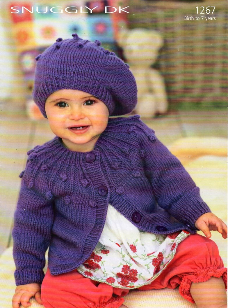 Knitted Beret Pattern Toddler : baby / childs cardigan beret knitting pattern pdf baby jacket