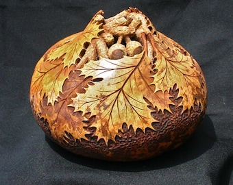 Oak Leaves and Acorns Hand Carved Gourd