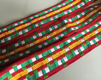 """Vintage 100% Cotton Heavy """"Basket Weave"""" Ribbon, Red, Green, White and Yellow, dense and incredible, 1 5/8 inches wide"""