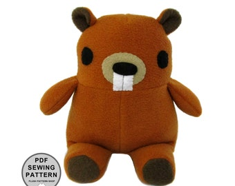 Sewing Pattern Plush Beaver Stuffed Animal