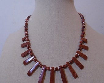Brown Goldstone Fan Necklace, Goldstone Necklace