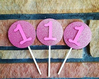 Cupcake Toppers, Pink Glitter, Cake decorations, Cake Toppers