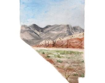 Nevada State PRINT, Nevada State Map, State Outline Nevada Print, Nevada State, Nevada Watercolor Landscape, Custom State Art, Red Rocks