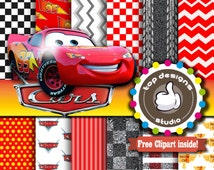 """SALE Cars Digital Paper : """"CARS Digital Paper""""-  Cars Lightning McQueen ClipArt Cars Digital Scrapbooking Paper, Cars Party Printable"""