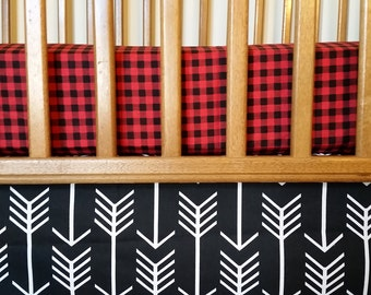 Fitted Crib Sheet Red Black Buffalo Plaid - Custom Baby Boy Bedding - baby shower baby gift toddler sheet Boy Gift northern lodge