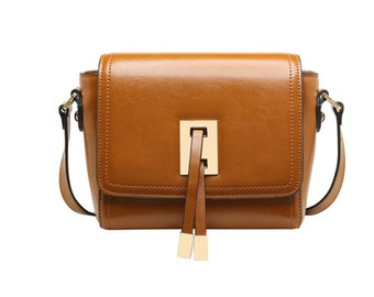 Square crossbody/Minimalist chic/leather bag/Geometrical metal tassel clasp/Saturday project