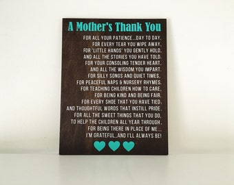 A Mother's Thank You wood sign | Daycare Gift | Teacher Gift | Thank you Teacher gift | Teacher appreciation gift