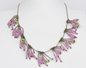 Beaded necklace, Bridesmaid necklace, Short necklace, Transparent pink necklace, Romantic necklace, Floral neclace, Nature Inspiration