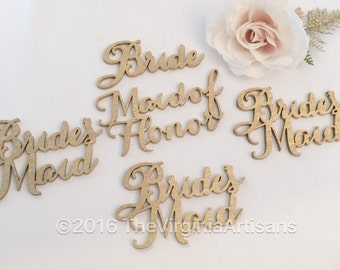 5 Bridal Party Name Tags. Set of Five. Gold or Silver. Bride, Maid of Honor and three Bridesmaids.