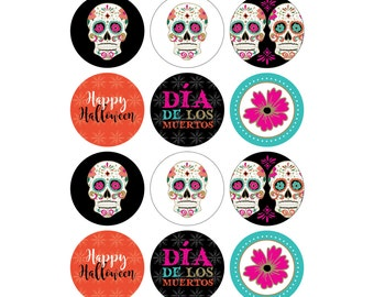 "INSTANT DOWNLOAD - Printable Halloween Cupcake Toppers/Party Circles (6 designs) - 2"" - Day of the Dead/Día de los Muertos - Sugar Skulls"