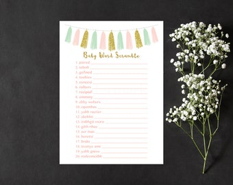 Pink Mint and Gold Word Scramble Baby Shower Game, Pink and Tassel Baby Word Scramble Shower Game, Instant Download PDF Printable