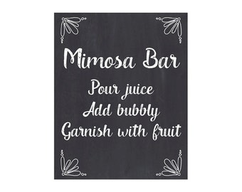 Mimosa Bar Sign, Chalkboard Mimosa Bar Sign, Chalkboard Sign, DIY Printable JPEG PDF Instant Download 828