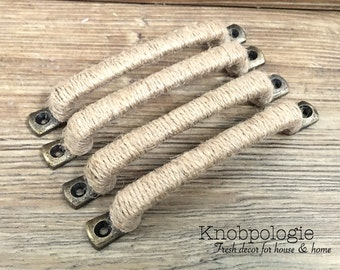 SET OF 4 - Nautical Jute Rope Wrapped Handle Drawer Pull - Beach Shabby Chic Decor Natural Brown Rustic Kitchen Burlap Home Accents