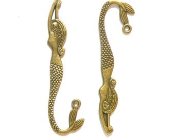Set of 5 bronze alloy mermaid charms for diy bracelet and necklace making.