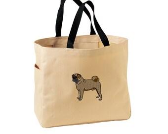 Pug Tote Bag. Embroidered Pug Tote. Cute Dog Pet Tote Bag. Pug Handbag. Pug Purse. SM-B0750