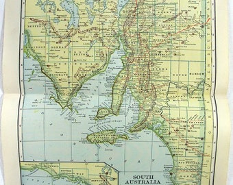 Original 1923 Map of South Australia by L. L. Poates. Vintage