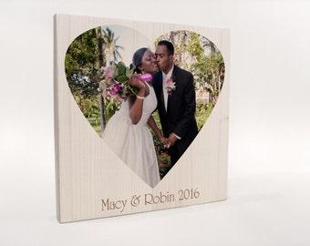 Heart-Shaped Photo on wood, custom photo gift, gift husband, gift wife, gift boyfriend, gift girlfriend, wedding gift, wedding photo gift