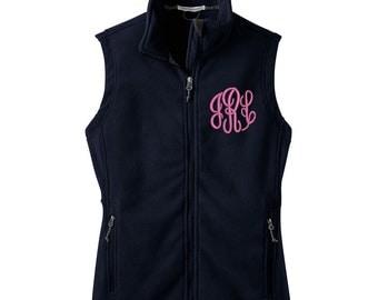 Monogrammed fleece Vest, Personalized Fleece Vest, Custom Fleece Vest, Womens Ladies Fleece Vest with Monogram